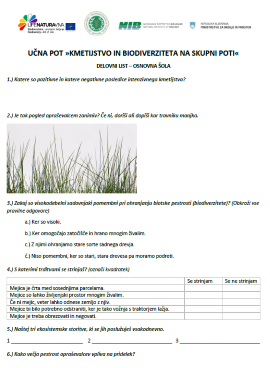 Učni listi za osnovne in srednje šole za učno pot o biodiverziteti in kmetijstvu